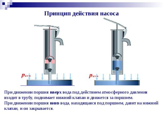 Принцип действия насоса При движении поршня вверх вода под действием атмосферного давления входит в трубу, поднимает нижний клапан и движется за поршнем.  При движении поршня вниз вода, находящаяся под поршнем, давит на нижний клапан, и он закрывается.