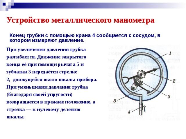 Устройство металлического манометра Конец трубки с помощью крана 4 сообщается с сосудом, в котором измеряют давление. При увеличении давления трубка разгибается. Движение закрытого конца её при помощи рычага 5 и зубчатки 3 передаётся стрелке 2,движущейся около шкалы прибора. При уменьшении давления трубка (благодаря своей упругости) возвращается в прежнее положение, а стрелка — к нулевому делению шкалы.