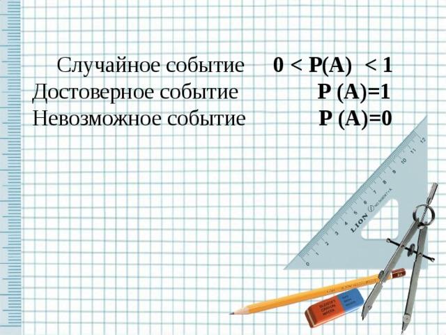 Случайное событие 0  Р(А)  Достоверное событие Р ( А )=1 Невозможное событие Р (А)=0
