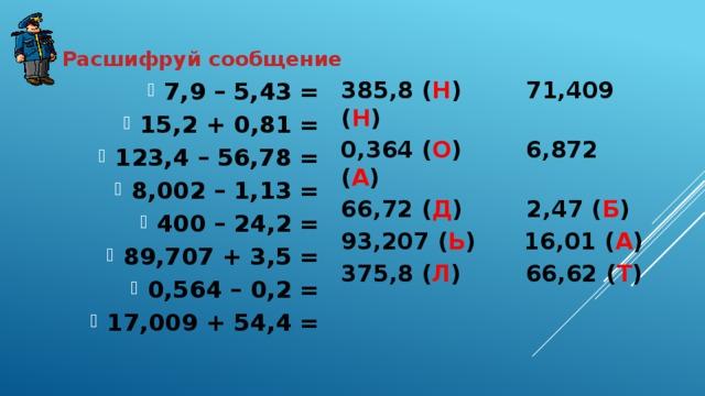 Расшифруй сообщение 385,8 ( Н ) 71,409 ( Н ) 0,364 ( О ) 6,872 ( А ) 66,72 ( Д ) 2,47 ( Б ) 93,207 ( Ь ) 16,01 ( А ) 375,8 ( Л ) 66,62 ( Т )