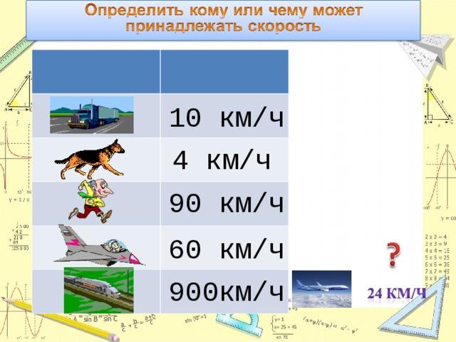 10 км/ч 4 км/ч 90 км/ч 60 км/ч 900км/ч