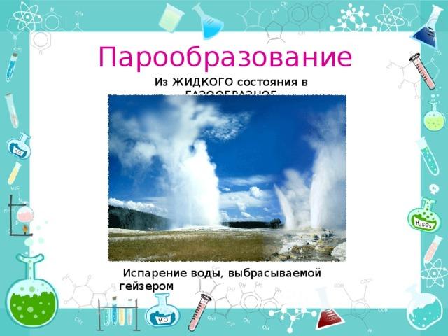 Парообразование Из ЖИДКОГО состояния в ГАЗООБРАЗНОЕ  Испарение воды, выбрасываемой гейзером