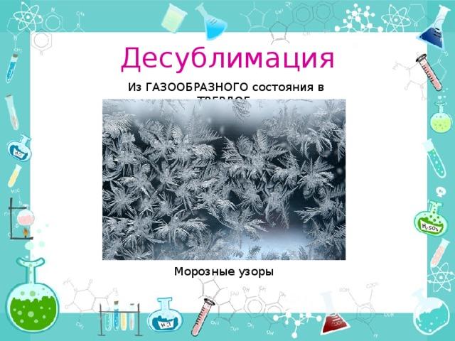 Десублимация Из ГАЗООБРАЗНОГО состояния в ТВЕРДОЕ Морозные узоры