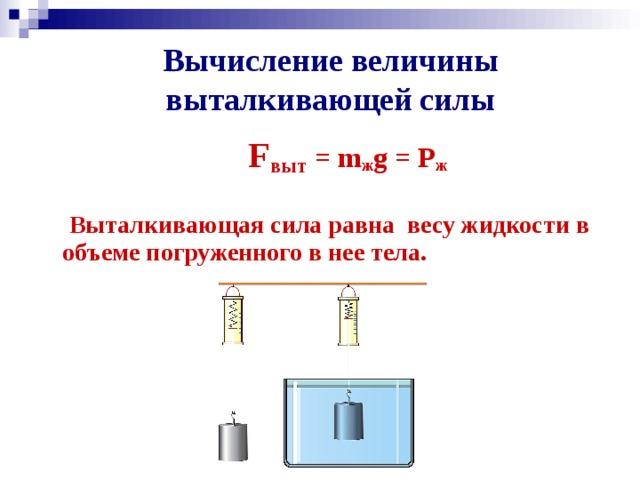 Вычисление величины выталкивающей силы    F выт = m ж g = P ж   Выталкивающая сила равна весу жидкости в объеме погруженного в нее тела.