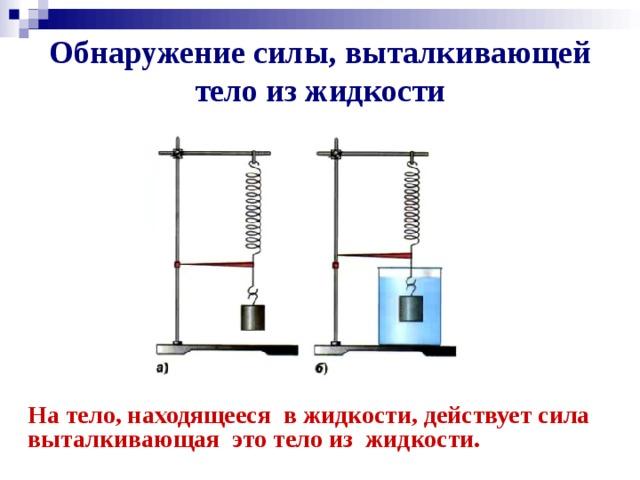 Обнаружение силы, выталкивающей тело из жидкости На тело, находящееся в жидкости, действует сила  выталкивающая это тело из жидкости.