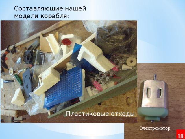 Составляющие нашей модели корабля: Пластиковые отходы Электромотор 18