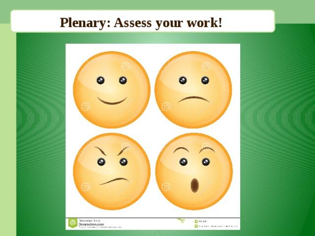 Plenary: Assess your work!