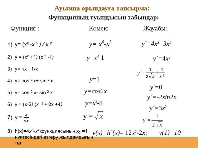 Ауызша орындауға тапсырма : Функцияның туындысын табыңдар: Функция : Көмек: Жауабы: y´=4x 3 - 3x 2 y=x 4 - 1 y´=4 x 3 y =1 y´ =0 y=cos2x y´=-2sin2x y= x 3 -8 y´=3 x 2  v(1)=10 v(x)=h´(x) = 12 х 2 -2 х ;