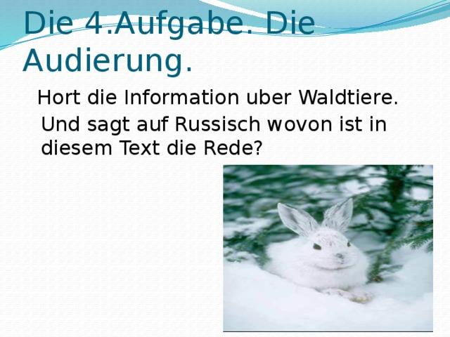 Die 4.Aufgabe. Die Audierung.  Hort die Information uber Waldtiere. Und sagt auf Russisch wovon ist in diesem Text die Rede?