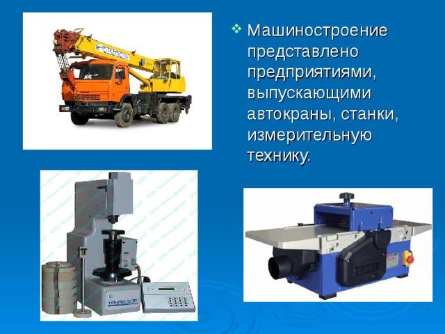 Машиностроение представлено предприятиями, выпускающими автокраны, станки, измерительную технику.