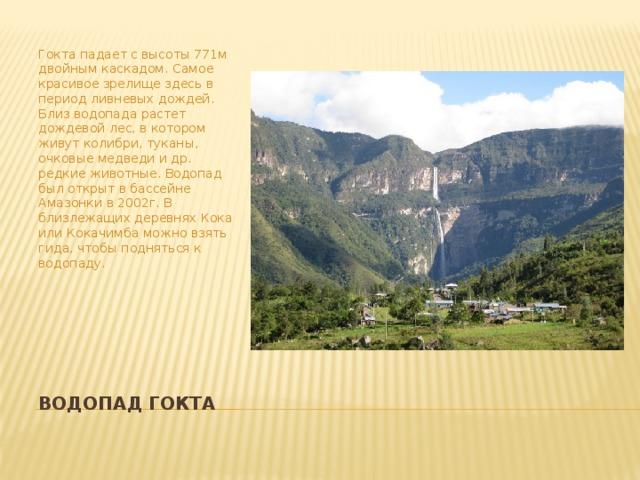 Гокта падает с высоты 771м двойным каскадом. Самое красивое зрелище здесь в период ливневых дождей. Близ водопада растет дождевой лес, в котором живут колибри, туканы, очковые медведи и др. редкие животные. Водопад был открыт в бассейне Амазонки в 2002г. В близлежащих деревнях Кока или Кокачимба можно взять гида, чтобы подняться к водопаду. Водопад Гокта