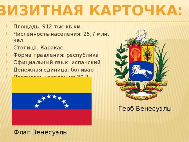 Визитная карточка: Площадь: 912 тыс.кв.км. Численность населения: 25,7 млн. чел. Столица: Каракас Форма правления: республика Официальный язык: испанский Денежная единица: боливар Плотность населения: 30,2 чел/кв.км Герб Венесуэлы Флаг Венесуэлы