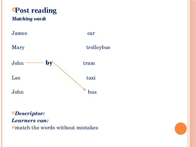 Post reading Matching words James car  Mary trolleybus  John   by  tram  Leo taxi  John bus  Descriptor: Learners can: match the words without mistakes