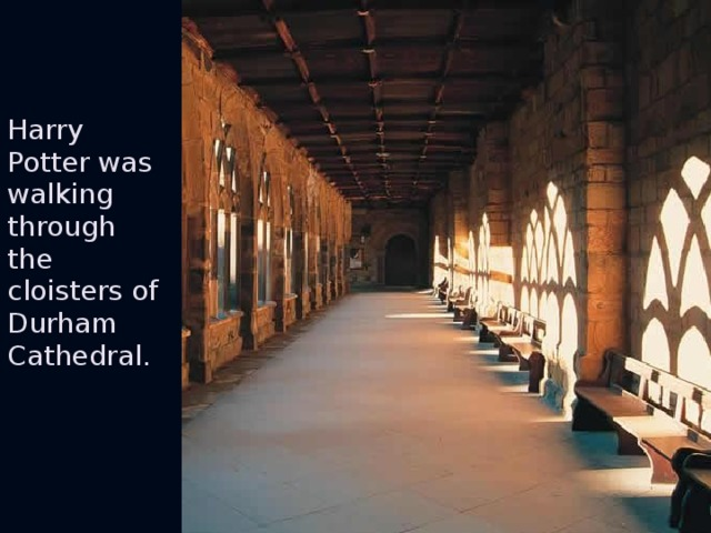 Harry Potter was walking through the cloisters of Durham Cathedral.