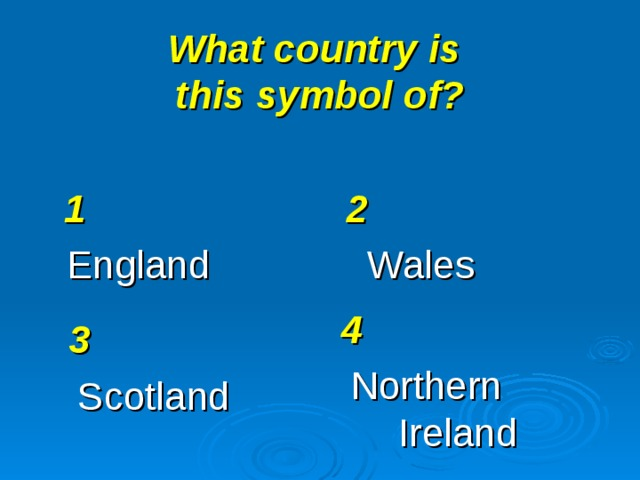 What country is  this symbol of? 1 England 2 Wales 4 Northern  Ireland 3 Scotland
