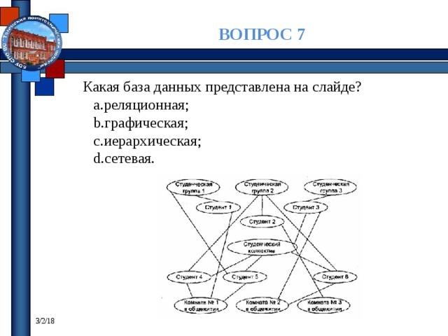 ВОПРОС 7 Какая база данных представлена на слайде? реляционная; графическая; иерархическая; сетевая. 3/2/18