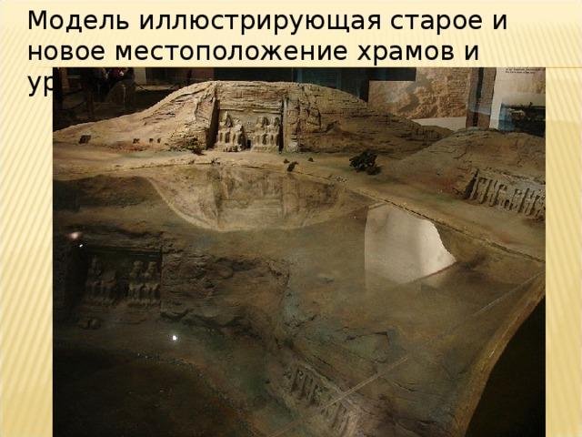 Модель иллюстрирующая старое и новое местоположение храмов и уровень воды.