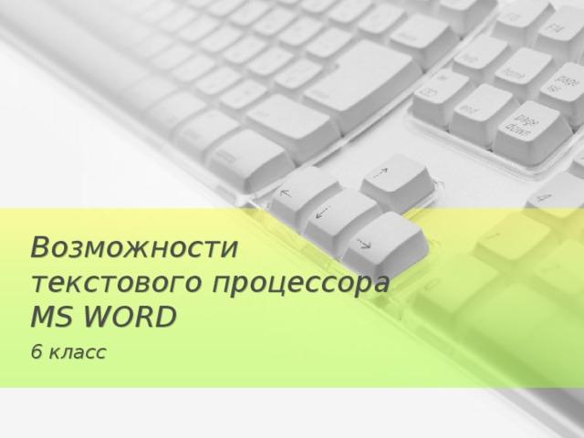 Возможности  текстового процессора  MS WORD 6 класс