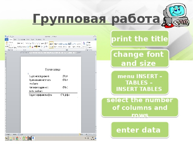 Групповая работа print the title change font and size menu INSERT – TABLES – INSERT TABLES select the number of columns and rows enter data