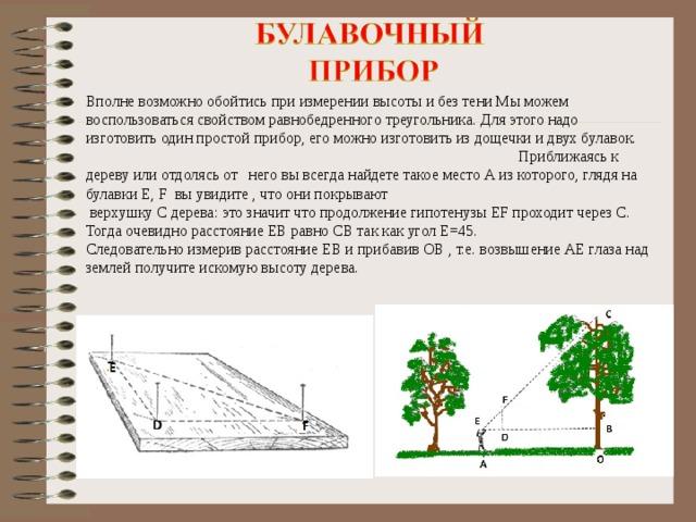 Вполне возможно обойтись при измерении высоты и без тени Мы можем воспользоваться свойством равнобедренного треугольника. Для этого надо изготовить один простой прибор, его можно изготовить из дощечки и двух булавок. Приближаясь к дереву или отдолясь от него вы всегда найдете такое место А из которого, глядя на булавки E, F вы увидите , что они покрывают  верхушку С дерева: это значит что продолжение гипотенузы ЕF проходит через С. Тогда очевидно расстояние EB равно CB так как угол Е=45. Следовательно измерив расстояние ЕВ и прибавив ОВ , т.е. возвышение АЕ глаза над землей получите искомую высоту дерева.