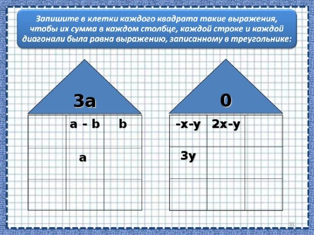 0 3 a -x-y 3y a - b  2x-y b a  29