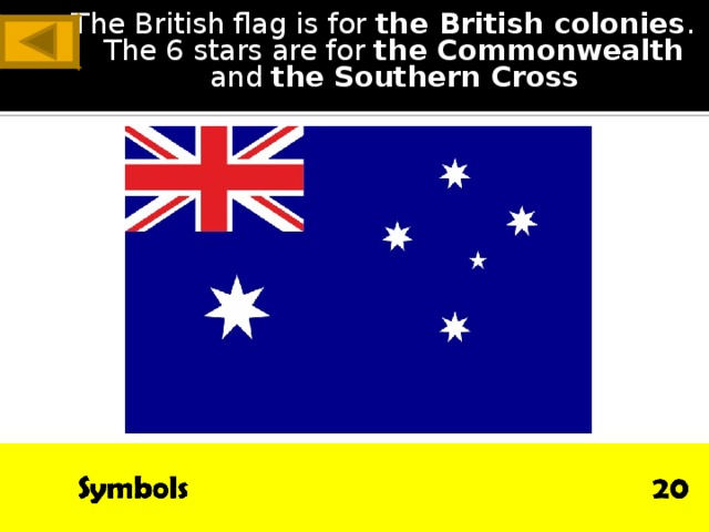 The British flag is for the British colonies . The 6 stars are for the Commonwealth and the  Southern Cross ANSWER