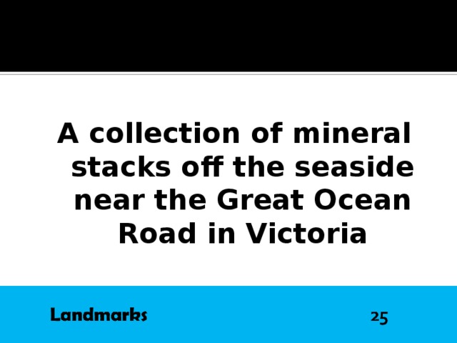 A collection of mineral stacks off the seaside near the Great Ocean Road in Victoria