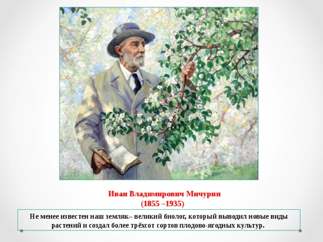Иван Владимирович Мичурин  (1855 –1935) Не менее известен наш земляк– великий биолог, который выводил новые виды растений и создал более трёхсот сортов плодово-ягодных культур.
