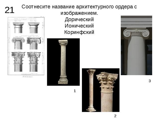 Соотнесите название архитектурного ордера с изображением.  Дорический  Ионический  Коринфский 21 3 1 2