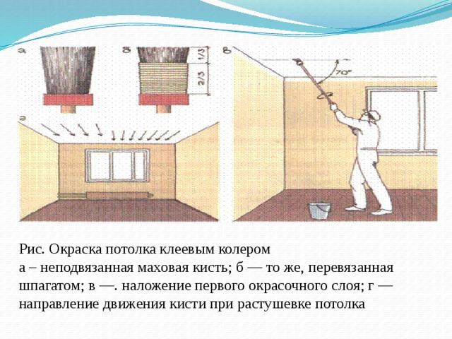 Рис. Окраска потолка клеевым колером  а – неподвязанная маховая кисть; б — то же, перевязанная шпагатом; в —. наложение первого окрасочного слоя; г — направление движения кисти при растушевке потолка