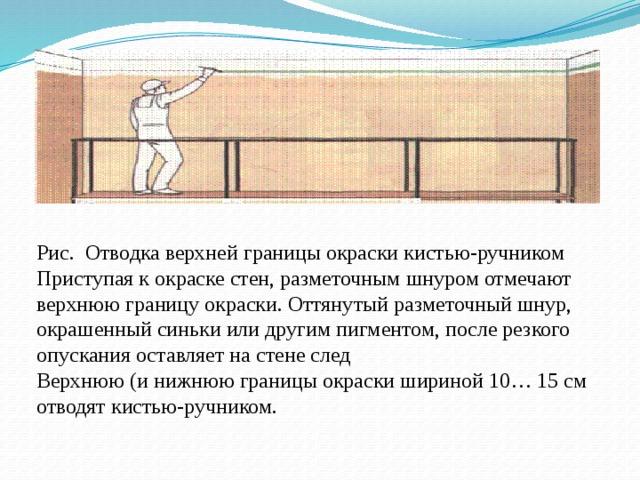 Рис. Отводка верхней границы окраски кистью-ручником Приступая к окраске стен, разметочным шнуром отмечают верхнюю границу окраски. Оттянутый разметочный шнур, окрашенный синьки или другим пигментом, после резкого опускания оставляет на стене след Верхнюю (и нижнюю границы окраски шириной 10… 15 см отводят кистью-ручником.