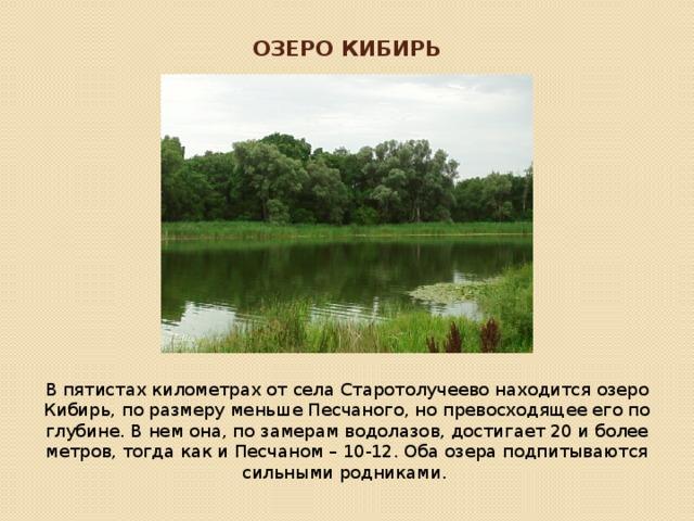 Озеро Кибирь В пятистах километрах от села Старотолучеево находится озеро Кибирь, по размеру меньше Песчаного, но превосходящее его по глубине. В нем она, по замерам водолазов, достигает 20 и более метров, тогда как и Песчаном – 10-12. Оба озера подпитываются сильными родниками.
