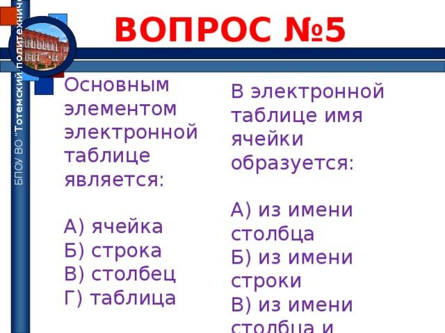 ВОПРОС №5 БПОУ ВО