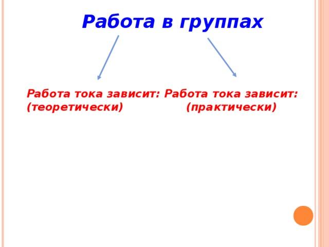 Работа в группах Работа тока зависит: (теоретически) Работа тока зависит: (практически)