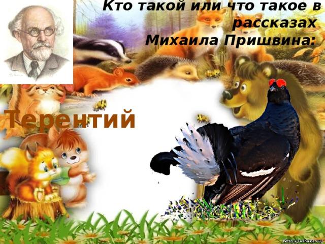 Кто такой или что такое в рассказах  Михаила Пришвина:   Терентий