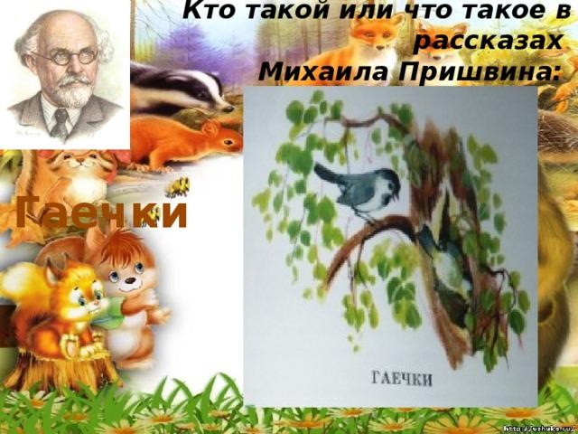 Кто такой или что такое в рассказах  Михаила Пришвина:   Гаечки