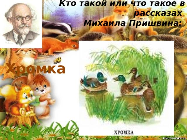 Кто такой или что такое в рассказах  Михаила Пришвина:   Хромка