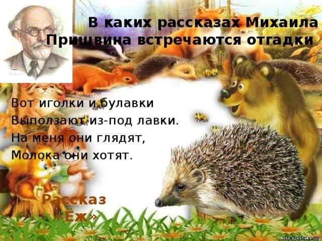 В каких рассказах Михаила Пришвина встречаются отгадки Вот иголки и булавки Выползают из-под лавки. На меня они глядят, Молока они хотят. Рассказ «Ёж»