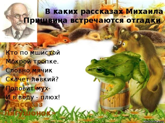 В каких рассказах Михаила Пришвина встречаются отгадки Кто по мшистой Мокрой тропке. Словно мячик Скачет ловкий? Половит мух- И в воду - плюх! Рассказ «Лягушонок»