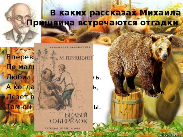 В каких рассказах Михаила Пришвина встречаются отгадки Вперевалку зверь идёт По малину и по мёд. Любил сладкое он очень. А когда приходит осень, Лезет в яму до весны, Там он спит и видит сны.