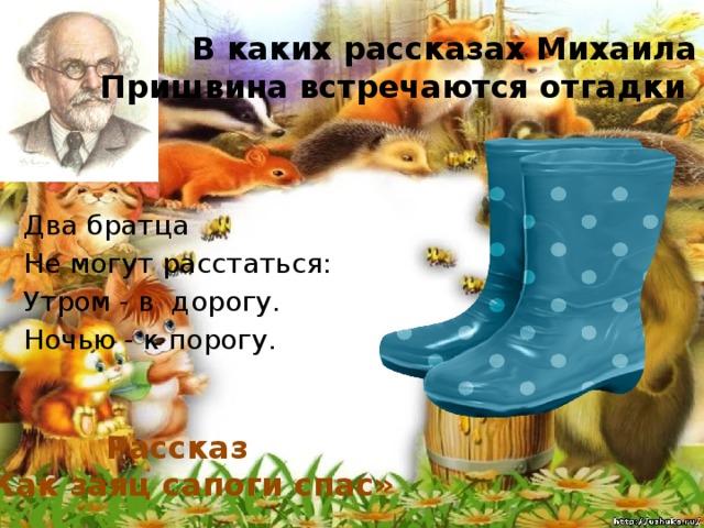 В каких рассказах Михаила Пришвина встречаются отгадки Два братца Не могут расстаться: Утром - в дорогy. Ночью - к порогу . Рассказ «Как заяц сапоги спас»