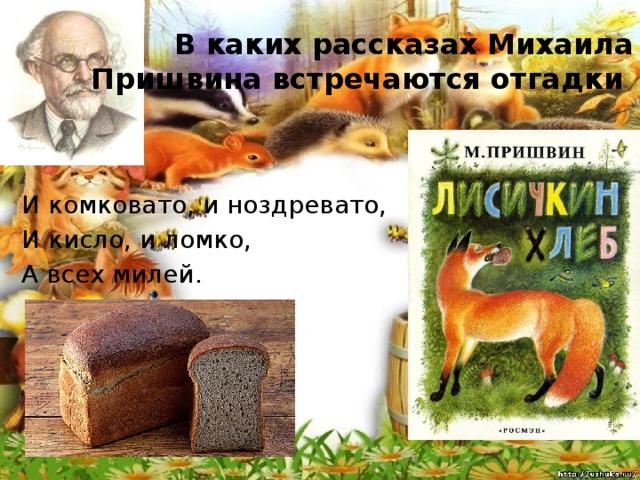 В каких рассказах Михаила Пришвина встречаются отгадки И комковато, и ноздревато, И кисло, и ломко, А всех милей.