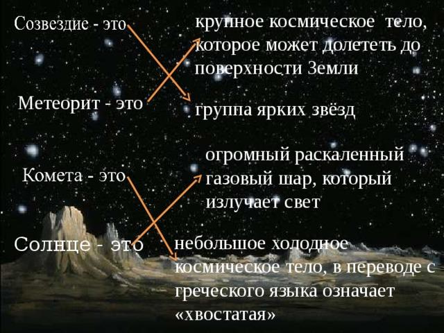 крупное космическое тело, которое может долететь до поверхности Земли Метеорит - это группа ярких звёзд огромный раскаленный газовый шар, который излучает свет небольшое холодное космическое тело, в переводе с греческого языка означает «хвостатая» Солнце - это