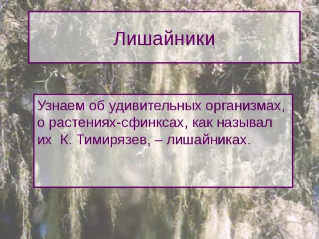 Лишайники Узнаем об удивительных организмах, о растениях-сфинксах, как называл их К. Тимирязев, – лишайниках. Сегодня на уроке мы, используя полученные ранее знания о водорослях и грибах, узнаем об удивительных организмах, о растениях-сфинксах, как называл их К. Тимирязев, – лишайниках, об их роли в природе и жизни человека.