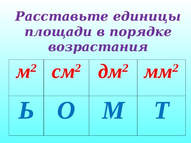 Расставьте единицы площади в порядке возрастания  м 2 см 2 Ь О дм 2 мм 2 М Т