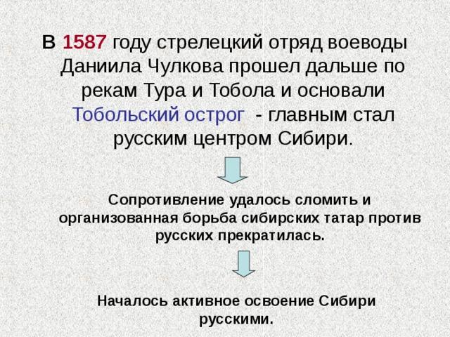 В 1587 году стрелецкий отряд воеводы Даниила Чулкова прошел дальше по рекам Тура и Тобола и основали Тобольский острог - главным стал русским центром Сибири. Сопротивление удалось сломить и организованная борьба сибирских татар против русских прекратилась. Началось активное освоение Сибири русскими.
