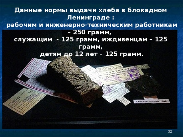 Данные нормы выдачи хлеба в блокадном Ленинграде :  рабочим и инженерно-техническим работникам – 250 грамм, служащим - 125 грамм, иждивенцам – 125 грамм,  детям до 12 лет – 125 грамм.