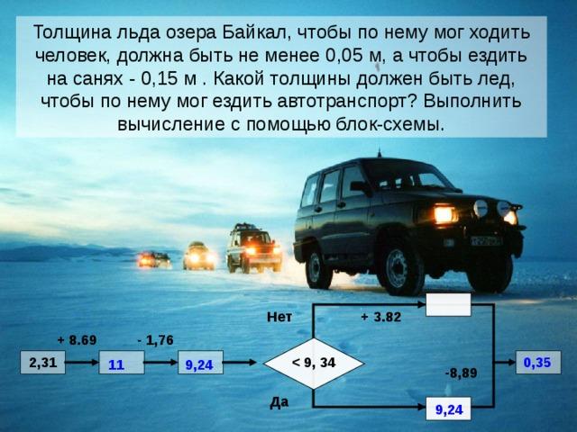 Толщина льда озера Байкал, чтобы по нему мог ходить человек, должна быть не менее 0,05 м, а чтобы ездить на санях - 0,15 м . Какой толщины должен быть лед, чтобы по нему мог ездить автотранспорт? Выполнить вычисление с помощью блок-схемы.  + 3.82 Нет - 1,76 + 8.69  0,35  2,31   11 9,24 -8,89 Да  9,24