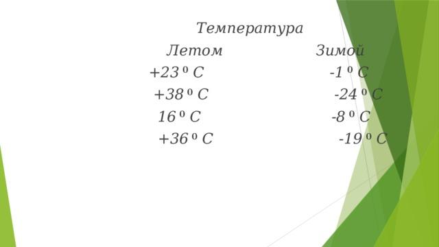 Температура  Летом Зимой  +23 0 С -1 0 С  +38 0 С -24 0 С  16 0 С -8 0 С  +36 0 С -19 0 С