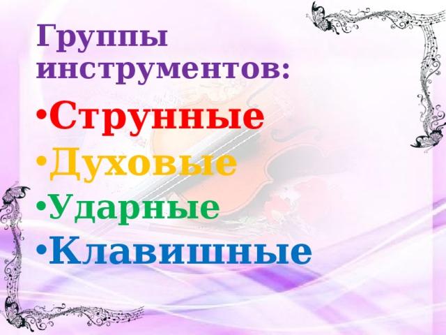 Группы инструментов:
